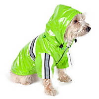 Pet Life Lime Green Reflecta-Glow PVC Raincoat for Dogs