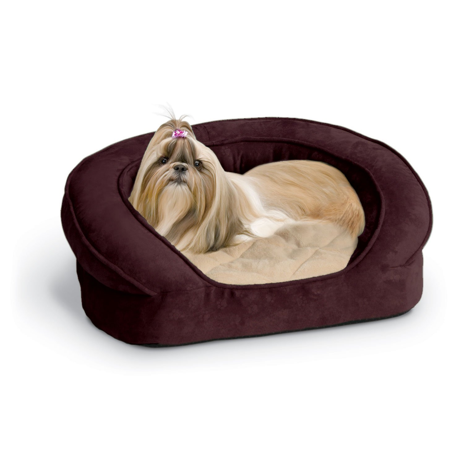 K&H Deluxe Ortho Bolster Sleeper Dog Bed in Eggplant with Paw Prints