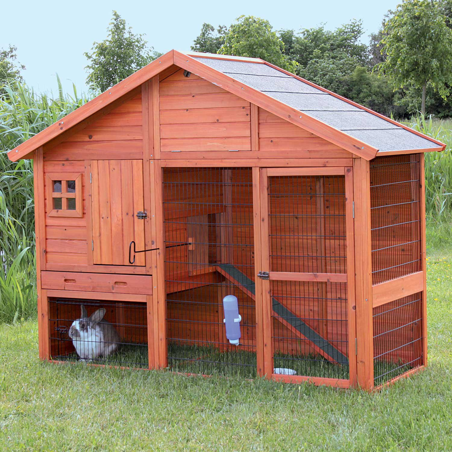 Trixie Natura Two Story Hatched Gable Rabbit Hutch with Run