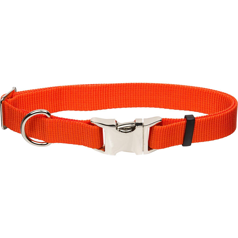 Coastal Pet Metal Buckle Nylon Adjustable Dog Collar in Orange