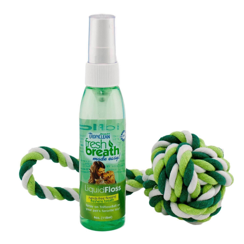 TropiClean Fresh Breath TriFloss Rope Ball with LiquidFloss