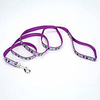Coastal Pet Lazer Brite Reflective Dog Leash in Purple with Peace Sign & Heart Print