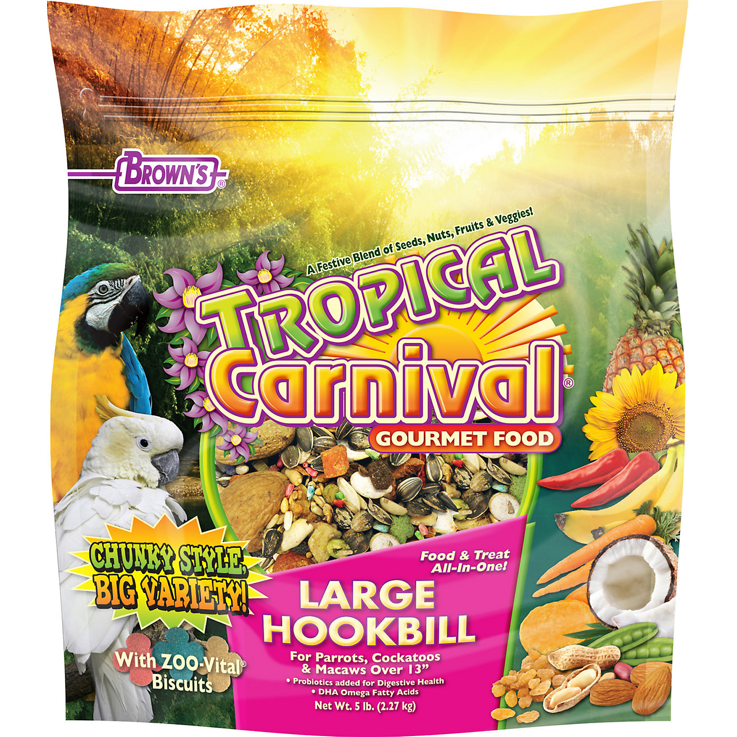 Browns Tropical Carnival Gourmet Large Hookbill Food 5 Lbs.