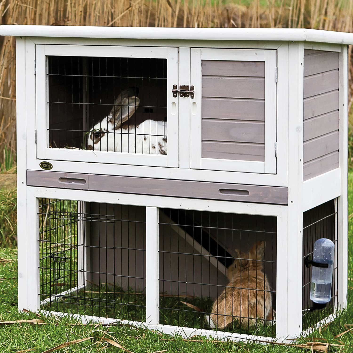 Trixie Natura Animal Hutch with Enclosure in Gray & White
