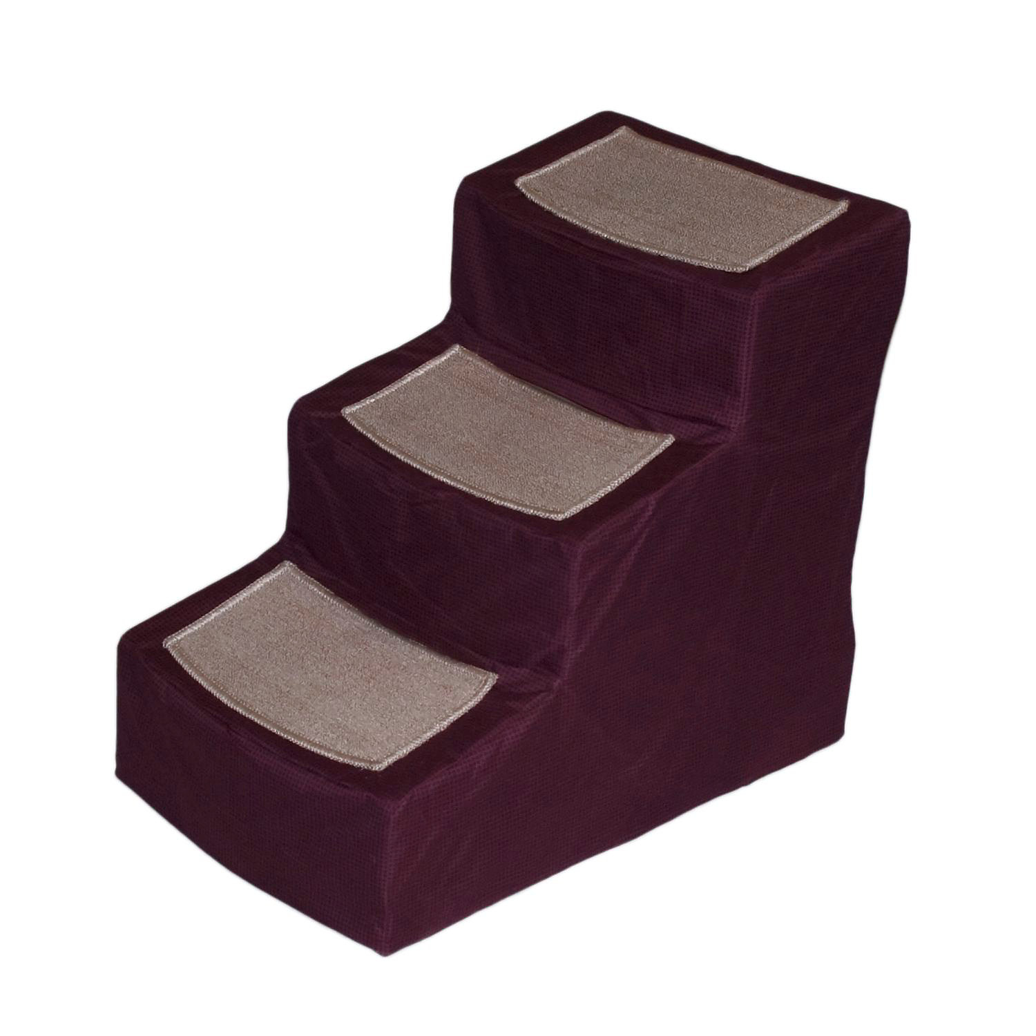 Pet Gear Burgundy Designer3 Step Stair With Removable Cover