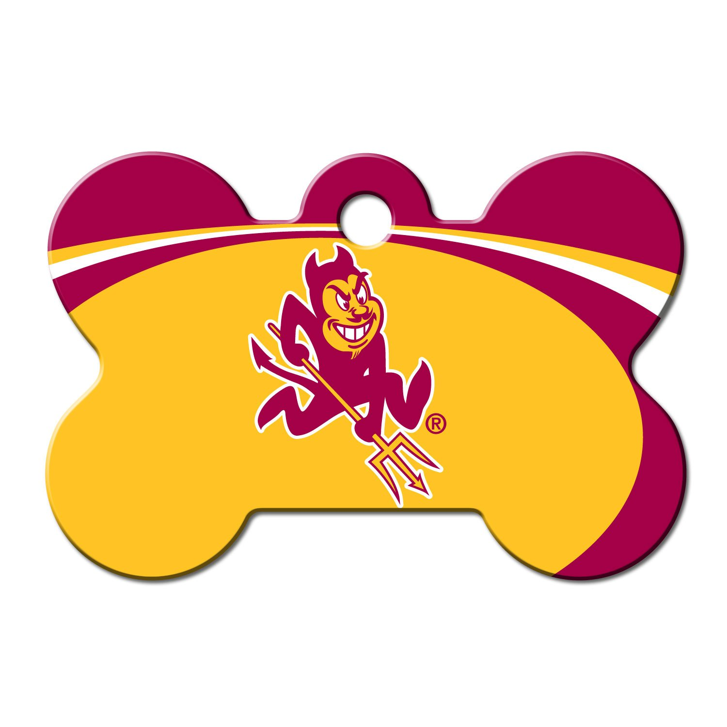 Quick-Tag ASU Sun Devils NCAA Bone Personalized Engraved Pet ID Tag, Large