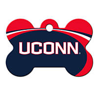 Quick-Tag UConn Huskies NCAA Bone Personalized Engraved Pet ID Tag, Large