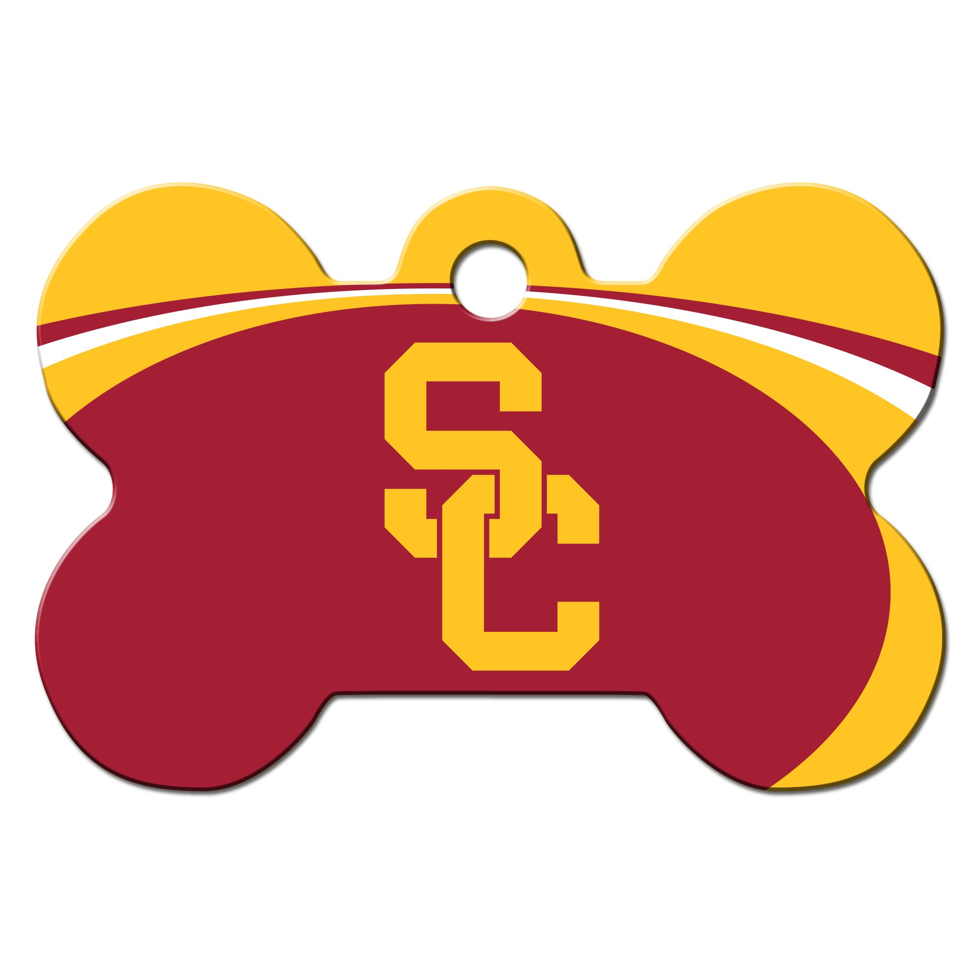 Quick-Tag USC Trojans NCAA Bone Personalized Engraved Pet ID Tag, Large