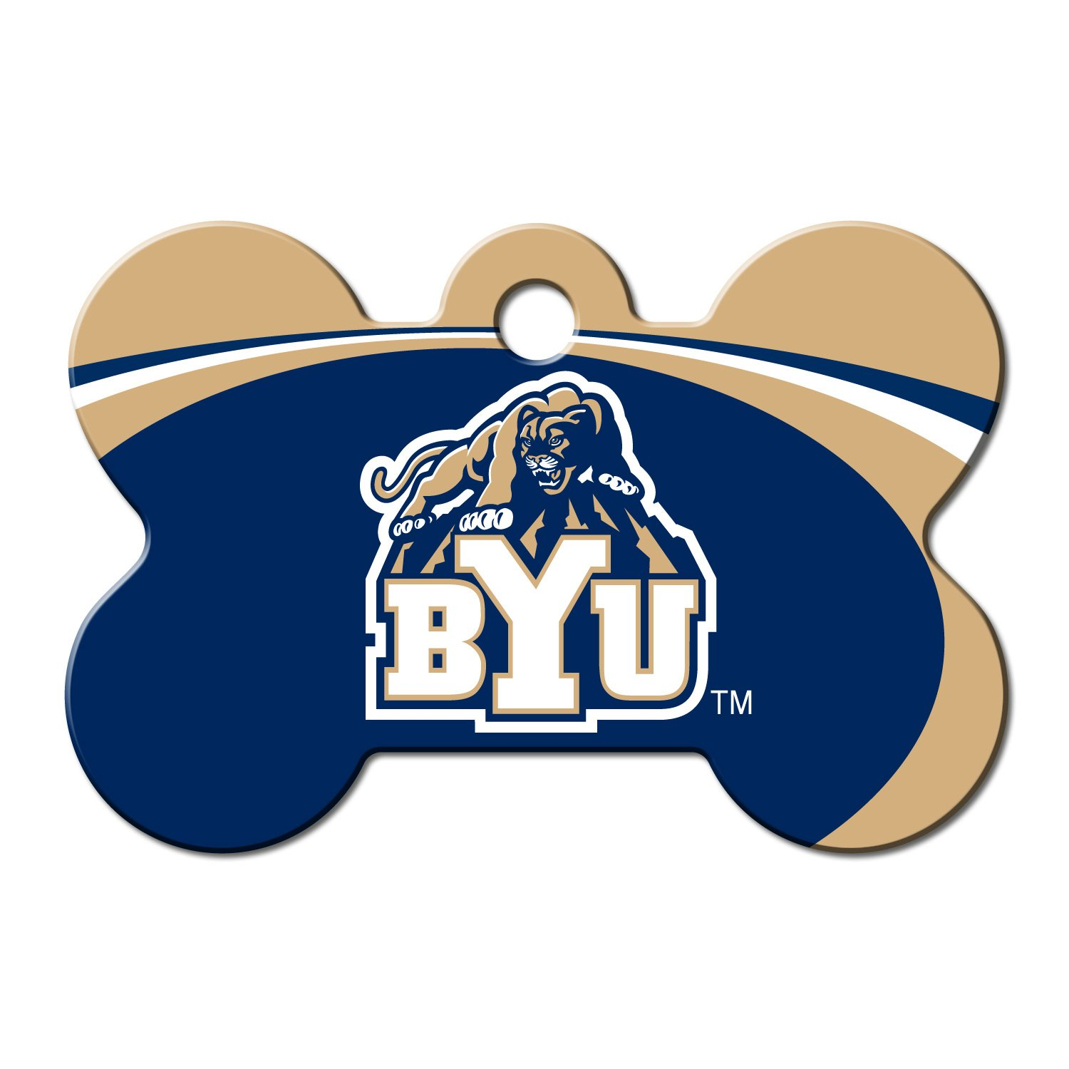 Quick-Tag BYU Cougars NCAA Bone Personalized Engraved Pet ID Tag, Large