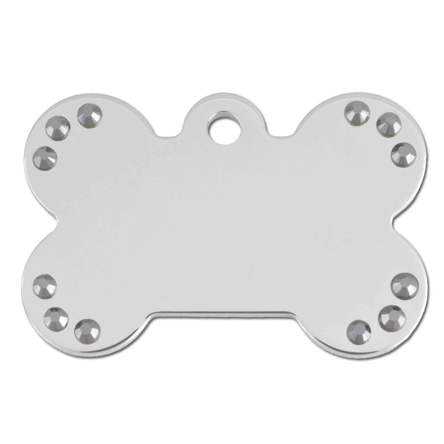 Quick-Tag Chrome Crystal Bone Personalized Engraved Pet ID Tag, Large