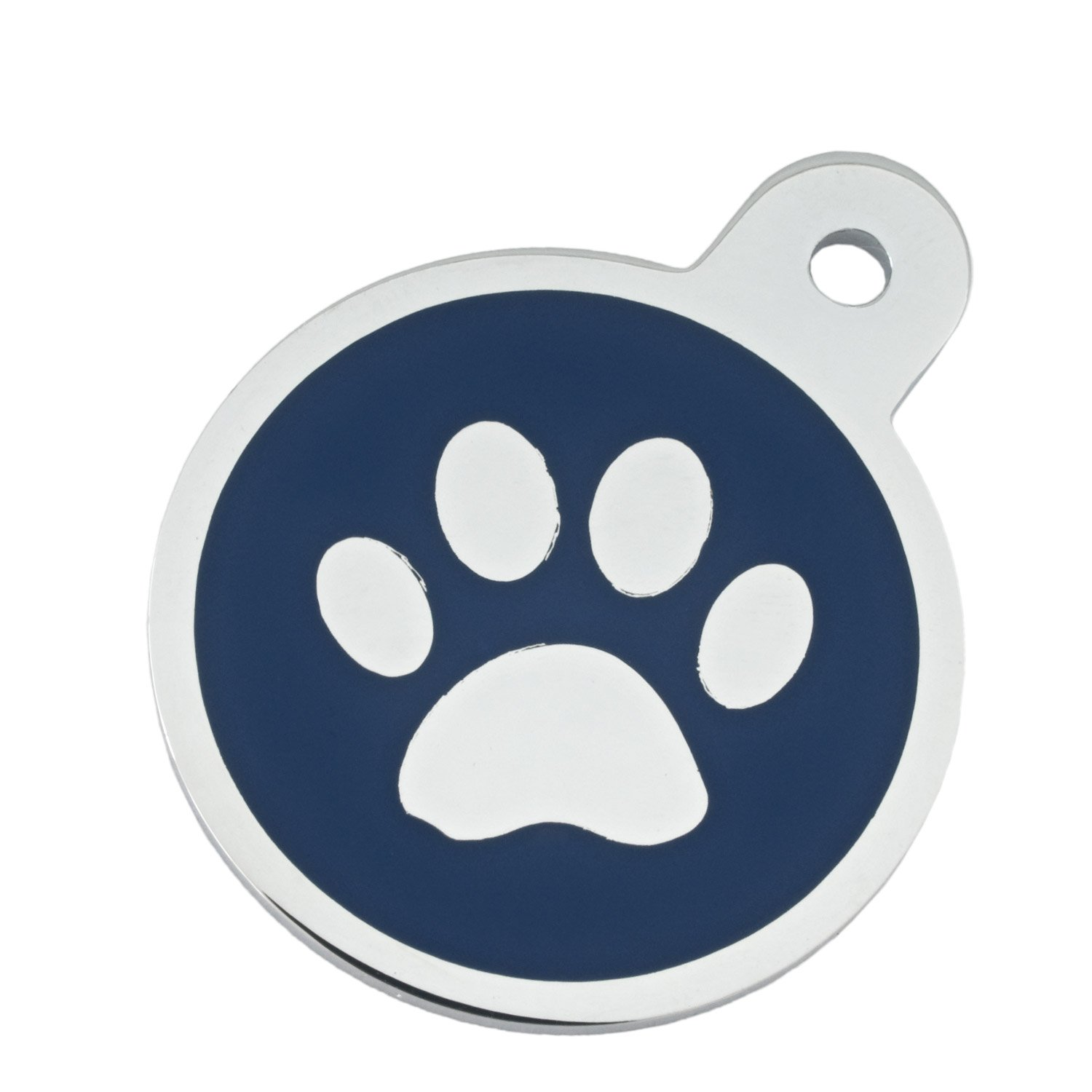 Quick-Tag Large Blue Paw Circle Personalized Engraved Pet ID Tag, Large
