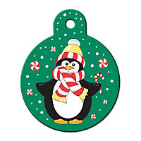 Quick-Tag Large Penguin Circle Personalized Engraved Pet ID Tag, Large
