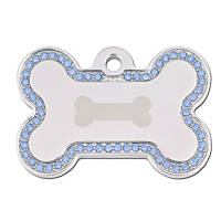 Quick-Tag Large Pave Blue Outlined Bone Personalized Engraved Pet ID Tag
