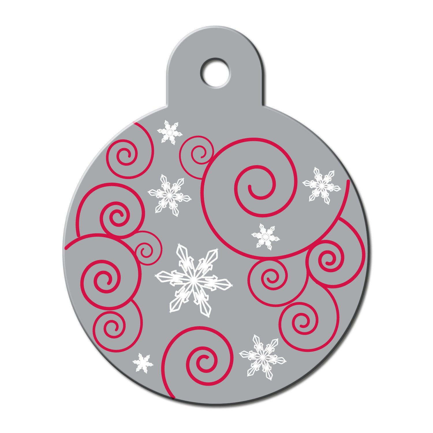 Quick-Tag Large Silver Ornament Personalized Engraved Pet ID Tag