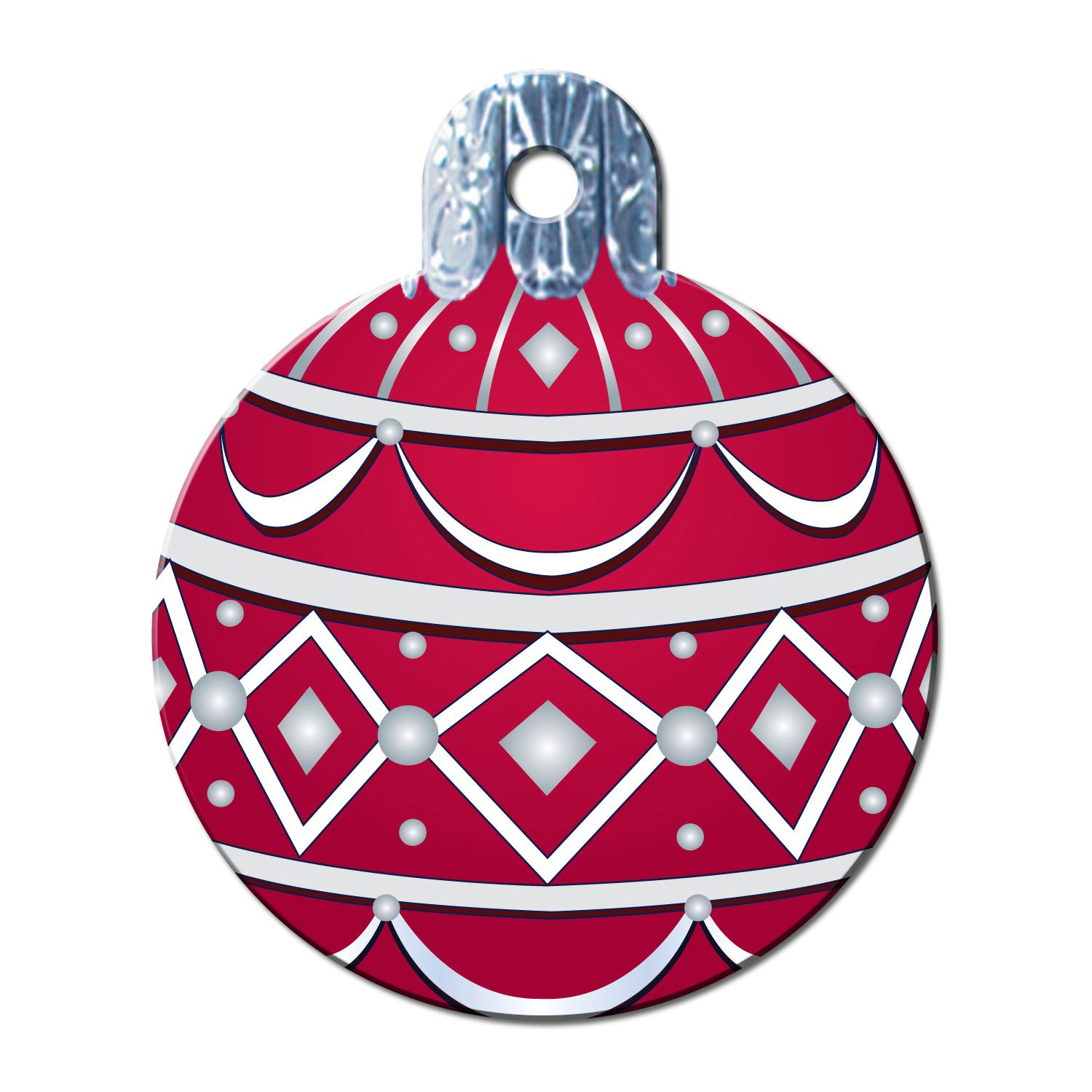 Quick-Tag Large Red Ornament Personalized Engraved Pet ID Tag