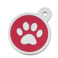 Quick-Tag Large Red Paw Circle Personalized Engraved Pet ID Tag