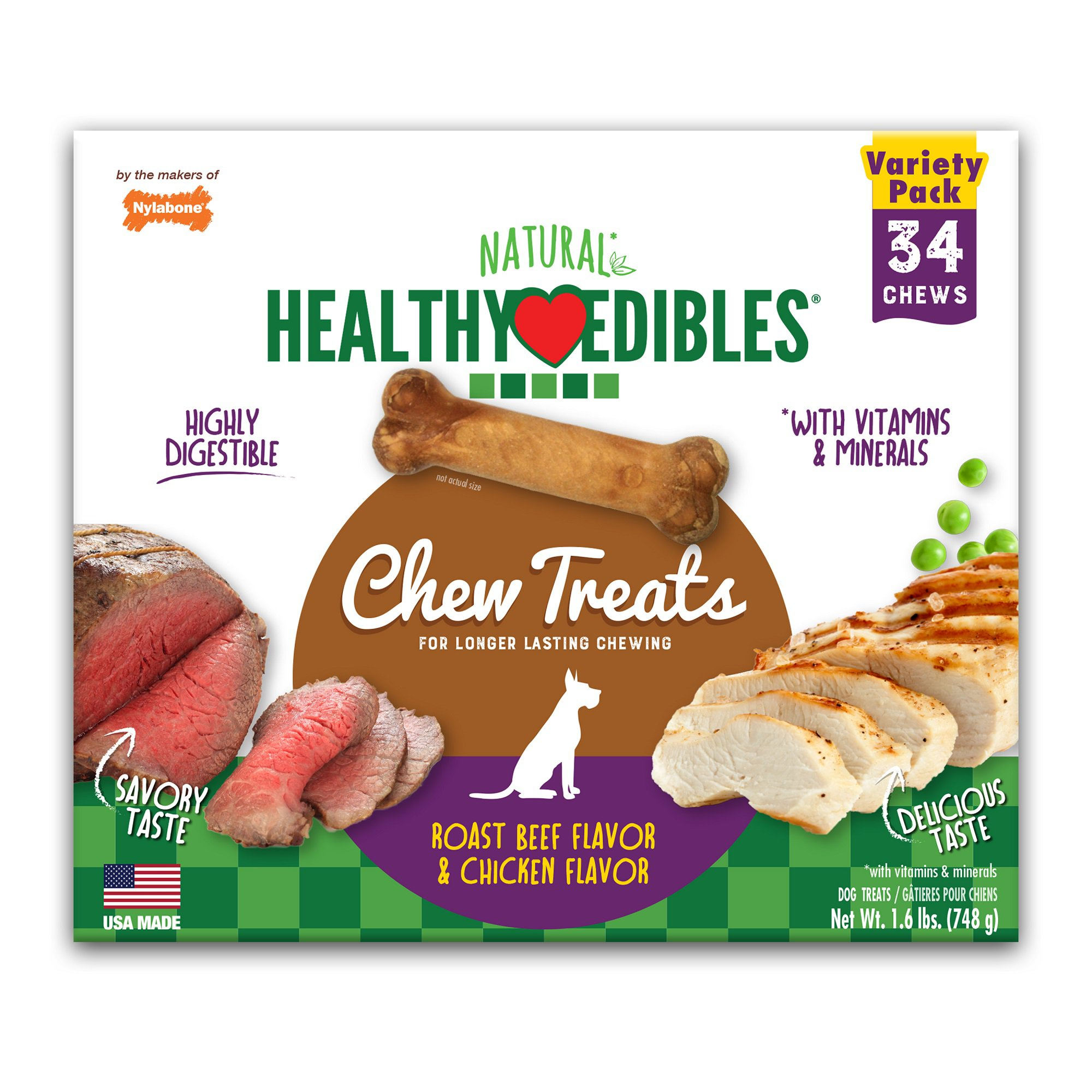 Nylabone Healthy Edibles 2 Flavor Variety Pack Dog Bone Chews