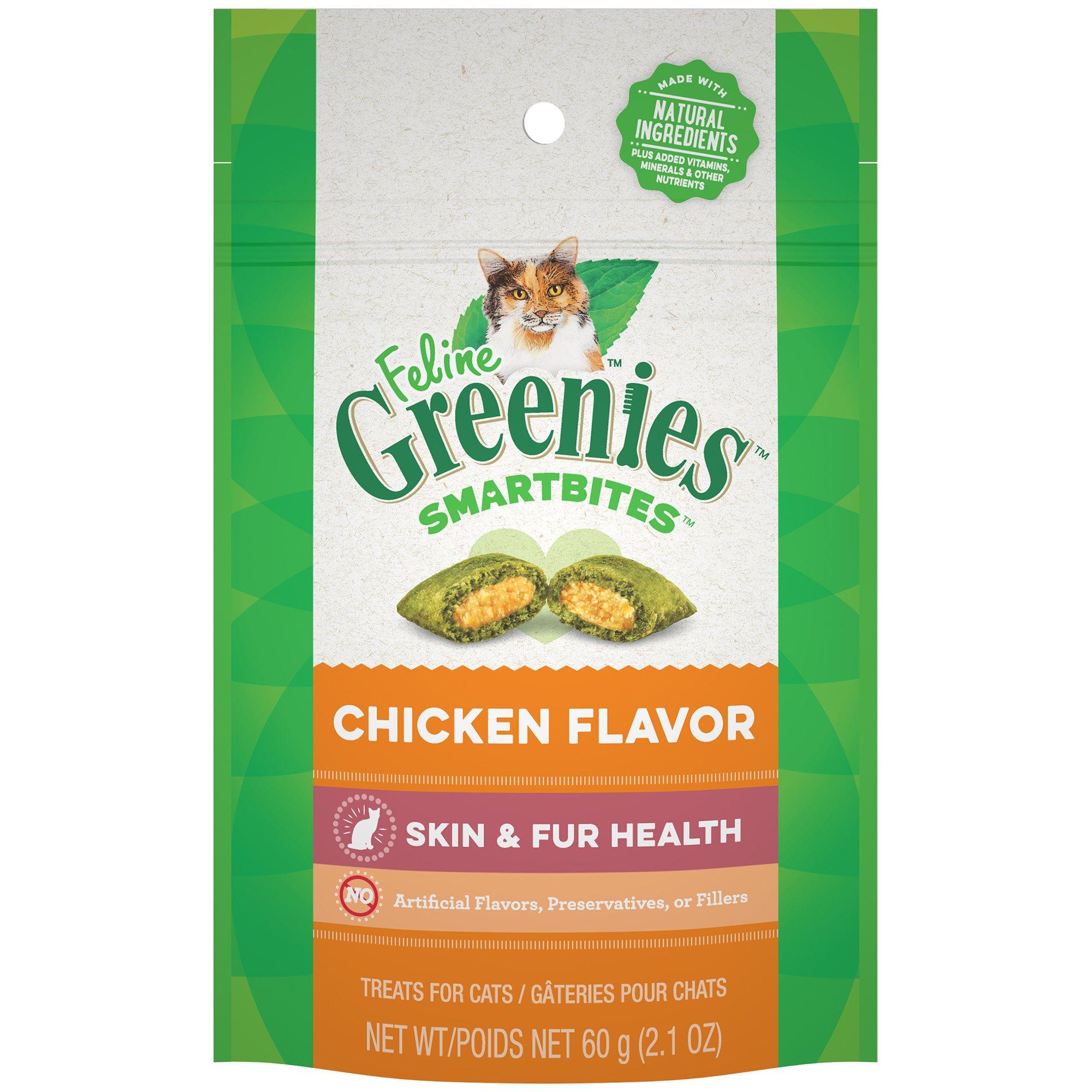 Feline Greenies Smartbites Healthy Skin and Fur Chicken Flavor
