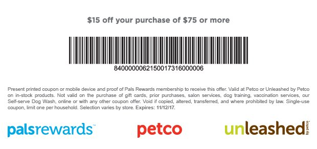 image about Printable Petco Coupons titled Help you save $15 off $75 Buys at Petco with Printable Coupon