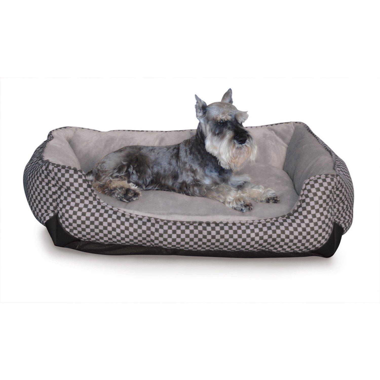 K&H Self-Warming Lounge Sleeper Dog Bed in Black Squares