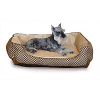 K&H Self-Warming Lounge Sleeper Dog Bed in Brown Squares