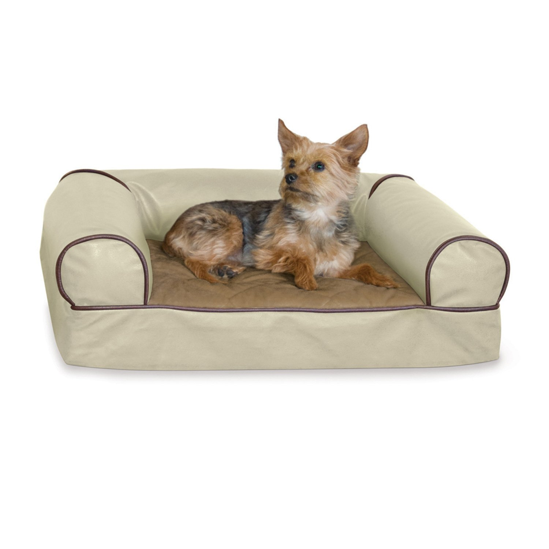K&H Memory Foam Cozy Sofa Dog Bed in White Chocolate