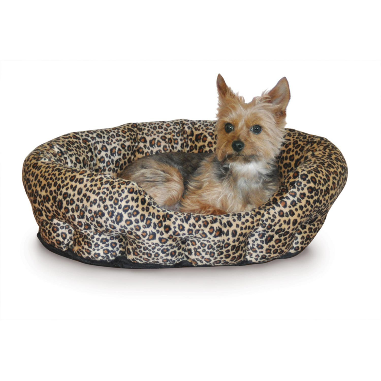 K&H Self-Warming Nuzzle Nest Dog Bed in Brown Leopard