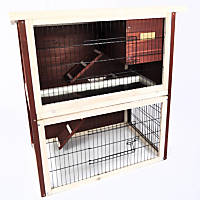 Advantek The Front Porch Rabbit Hutch in Auburn & White