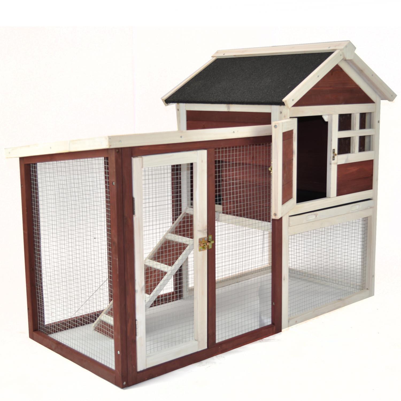 Advantek The Stilt House Rabbit Hutch in Auburn & White