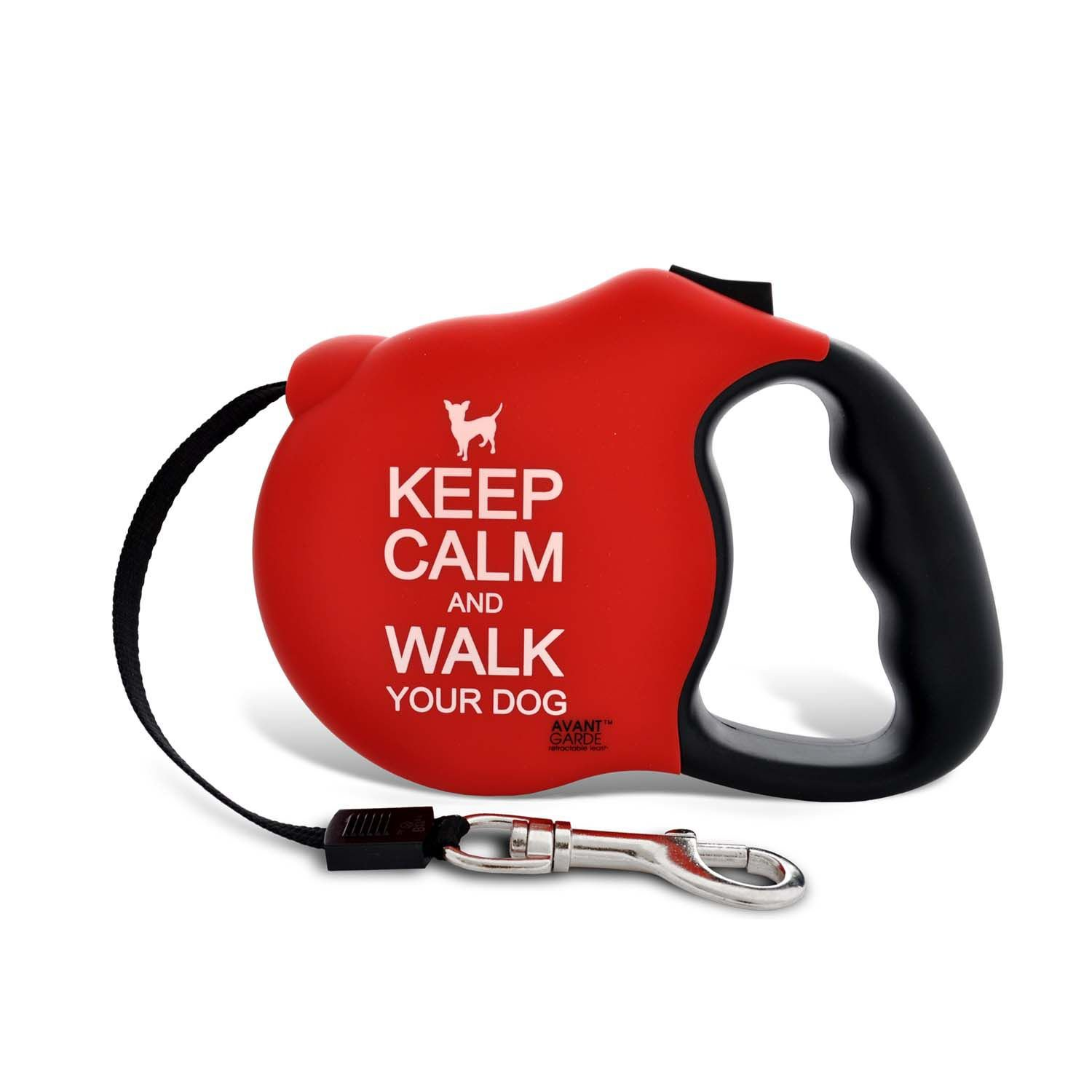 Avant Garde Keep Calm Retractable Dog Leash