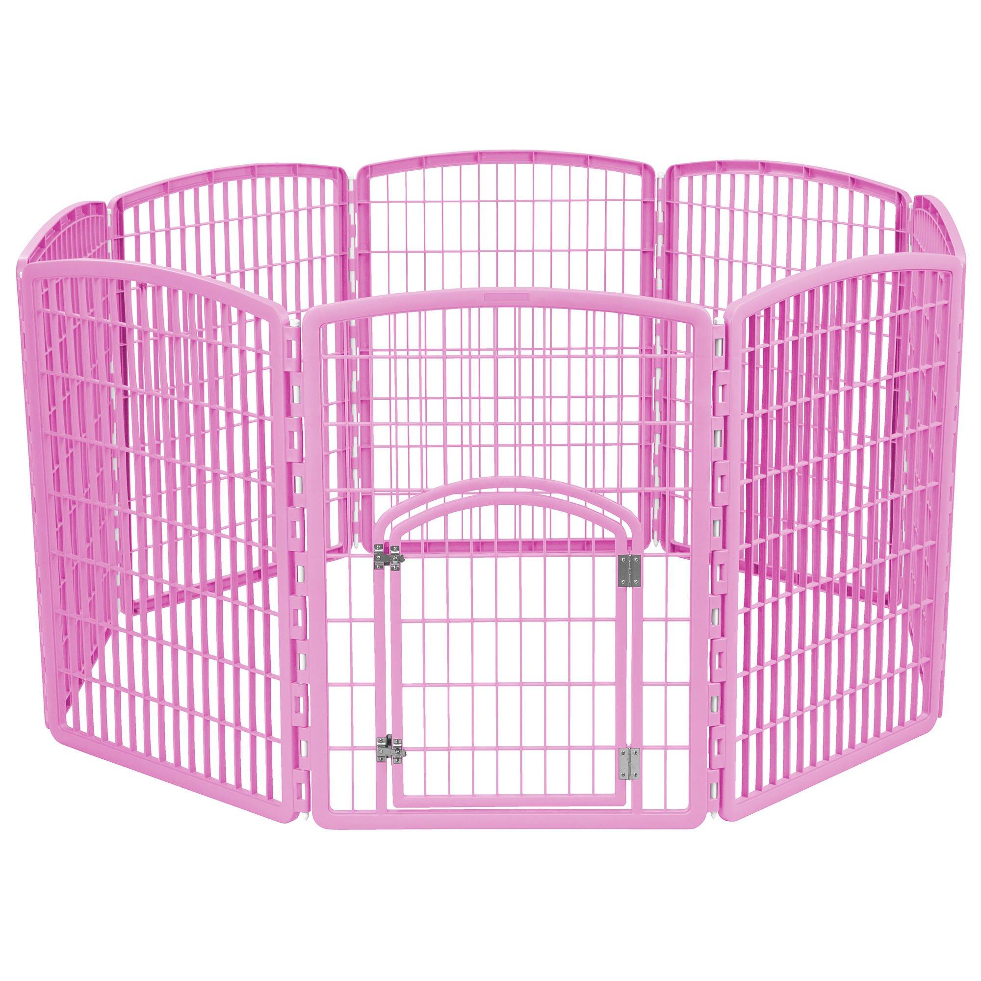 Iris Pink Eight Panel Pet Containment Pen with Door