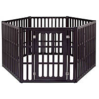 Iris Brown Six Panel Pet Heavy Duty Containment Pen with Door