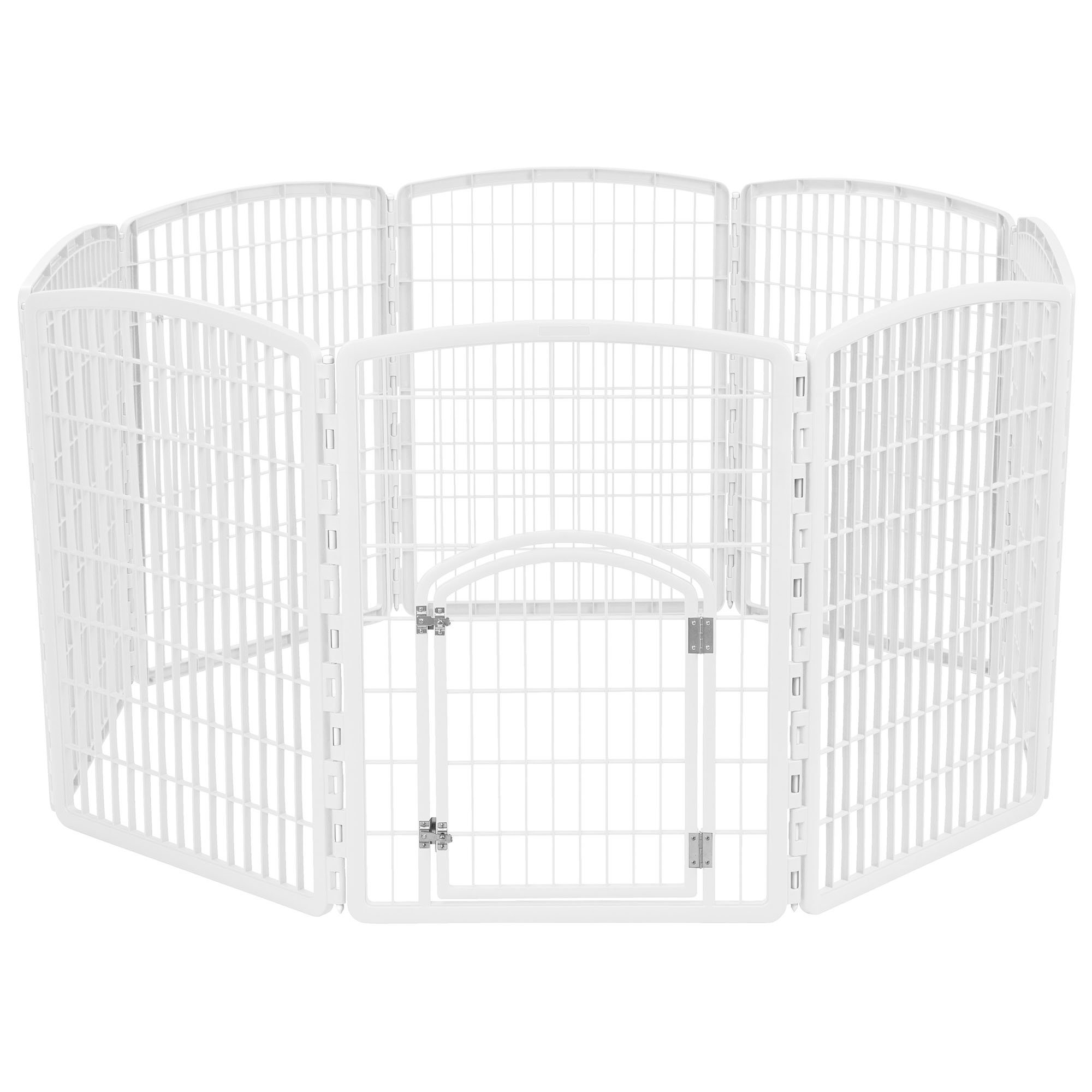 Iris White Eight Panel Pet Containment Pen with Door