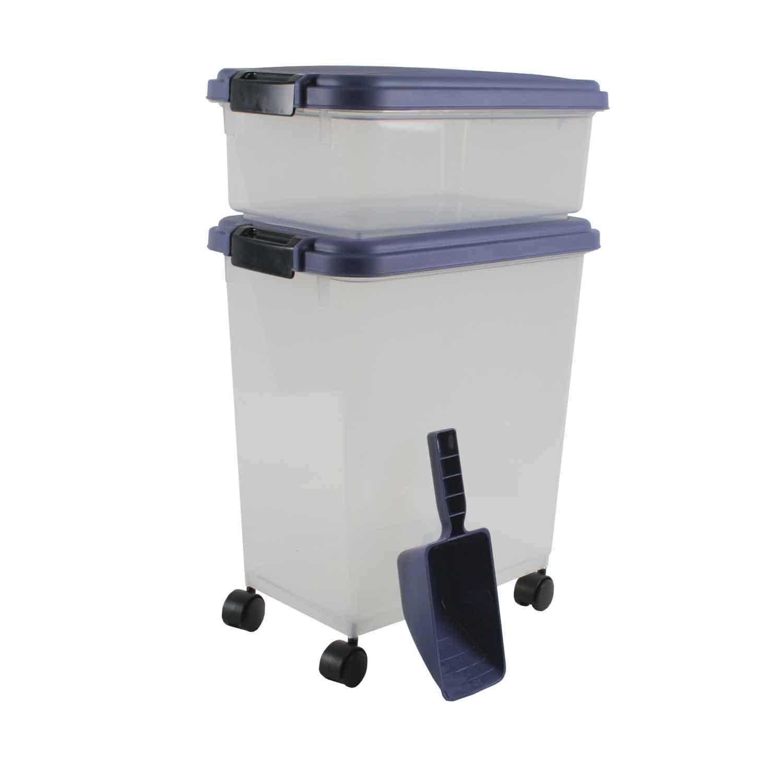 Iris Blue Indigo and Clear Airtight Three Piece Food Storage Combo