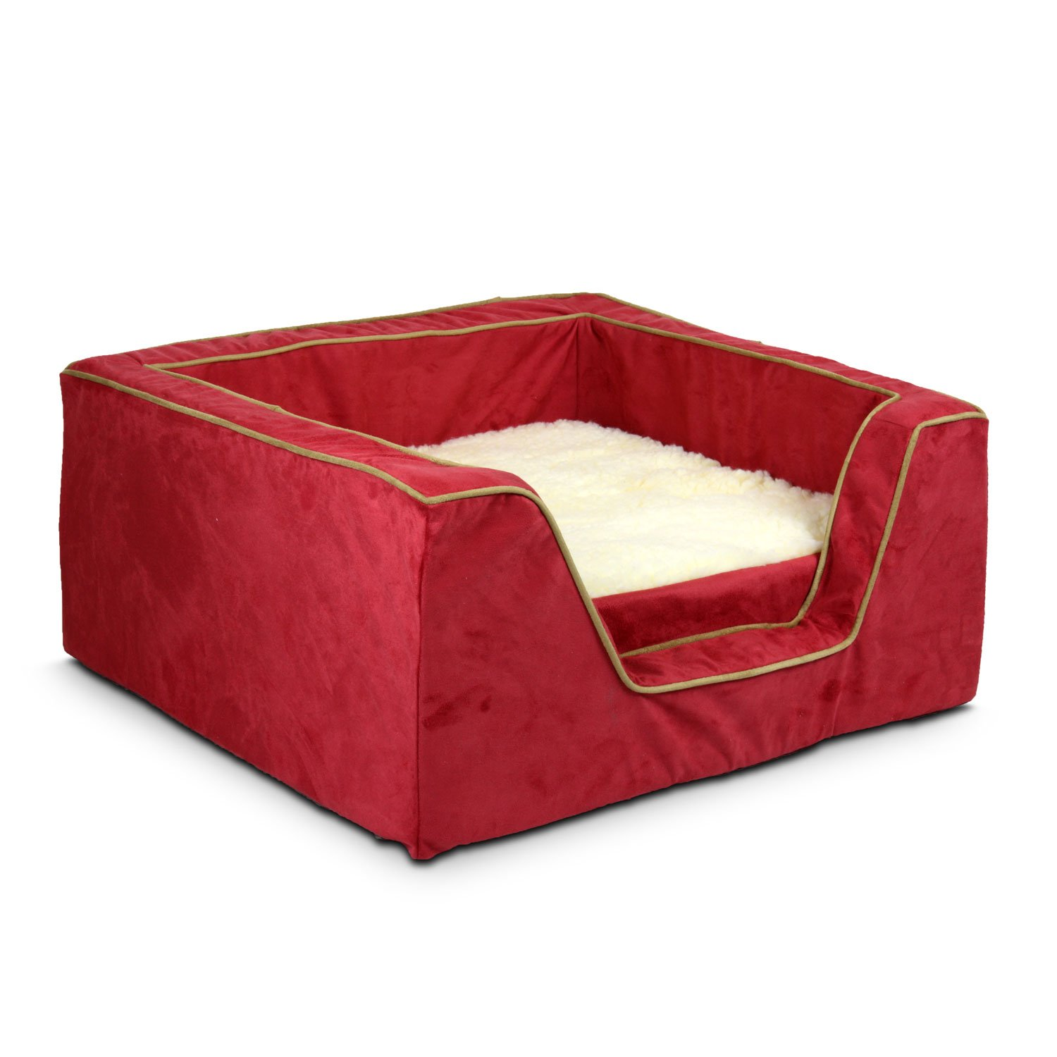 Snoozer Luxury Square Bed with Memory Foam in Red with Camel Cording