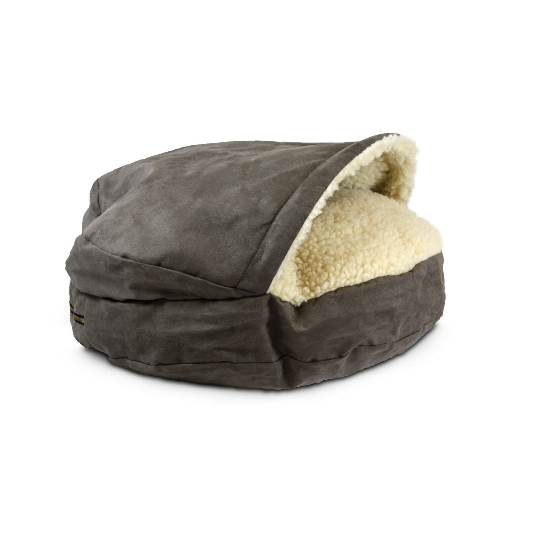 Snoozer Luxury Orthopedic Cozy Cave Pet Bed in Dark Chocolate & Cream