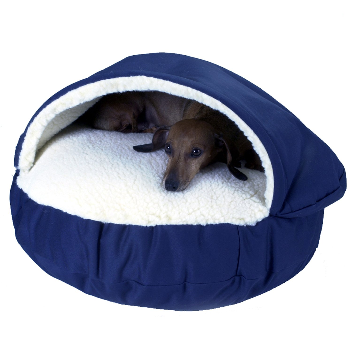 Snoozer Orthopedic Cozy Cave Pet Bed in Navy & Cream