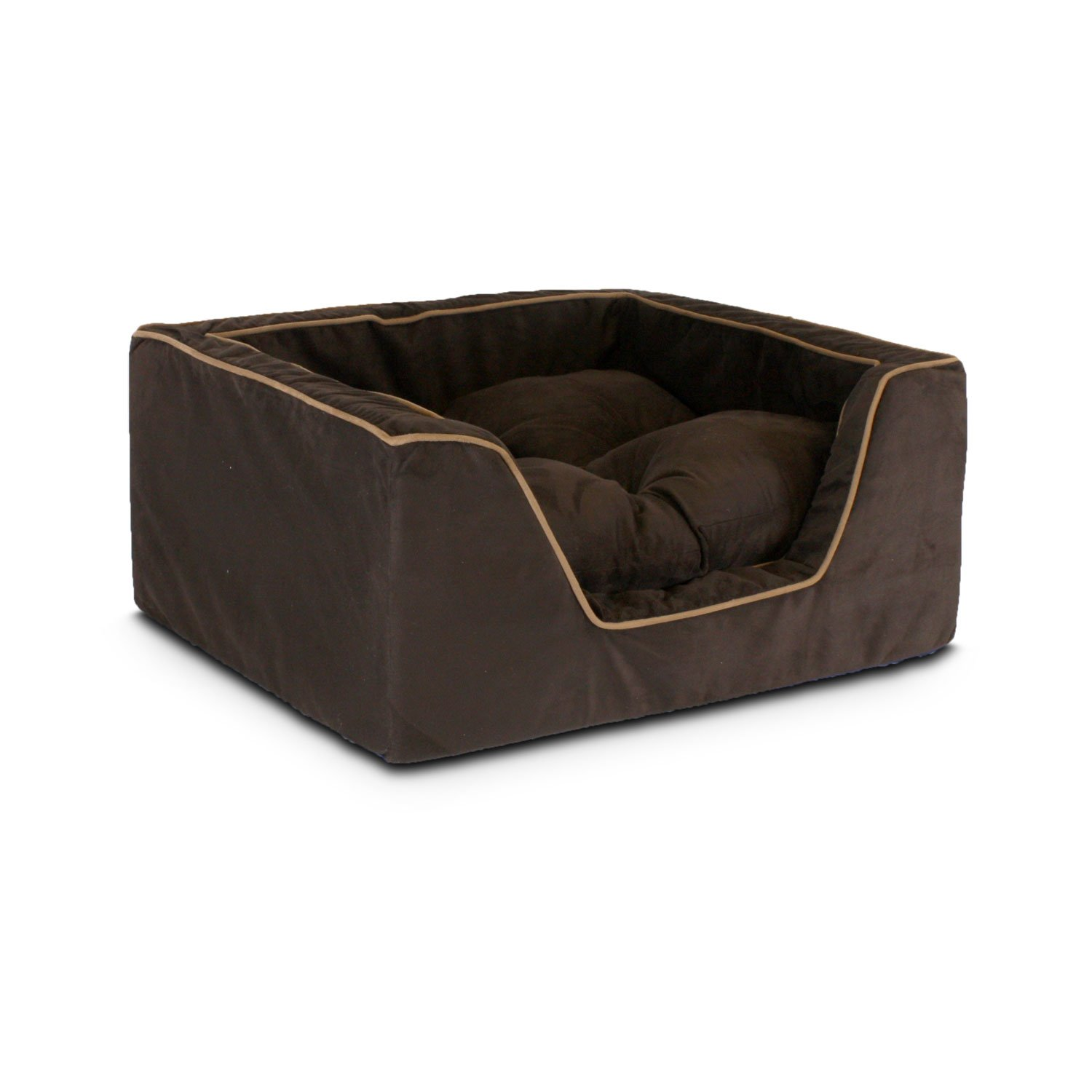 Snoozer Luxury Square Bed in Hot Fudge with Cafe Cording