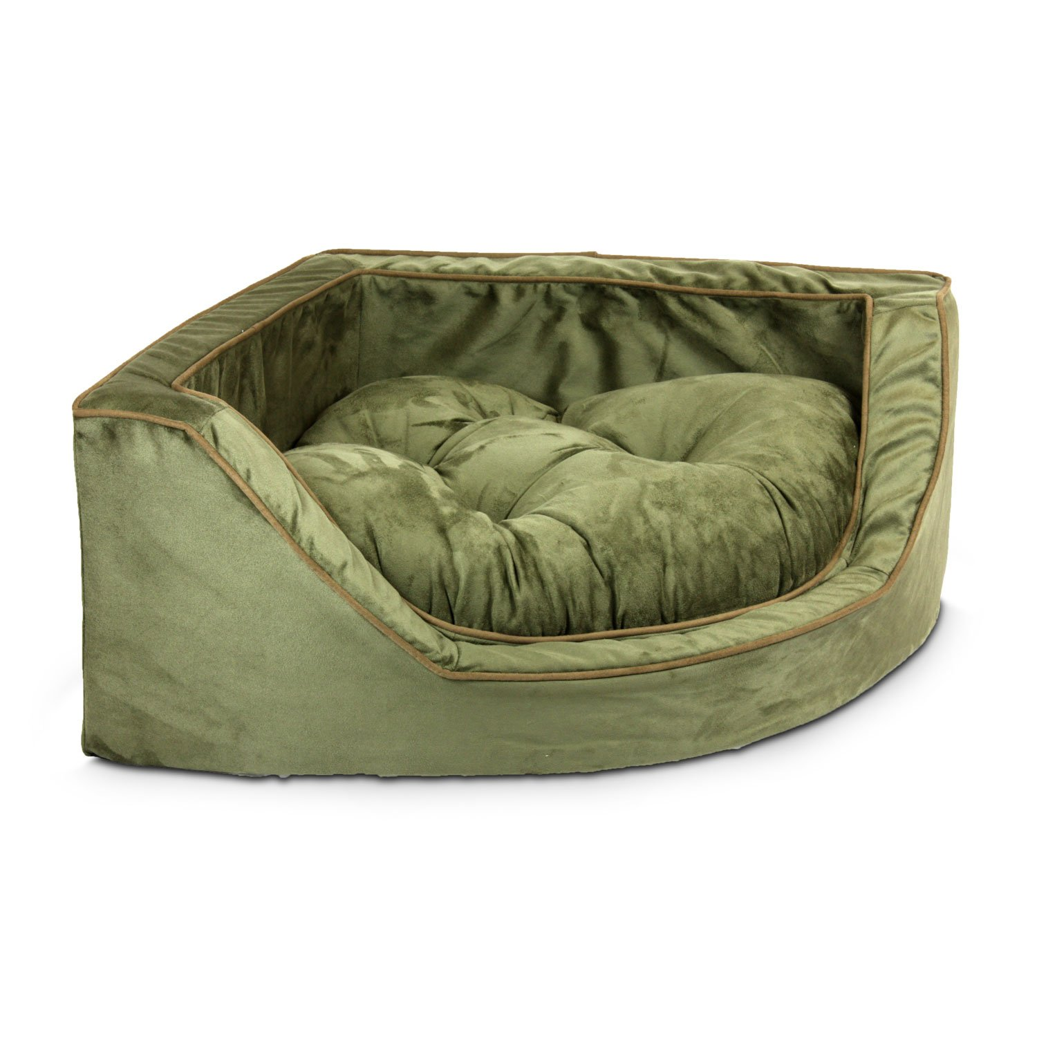 Snoozer Luxury Corner Bed in Olive with Coffee Cording