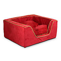 Snoozer Luxury Square Bed in Red with Camel Cording