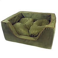 Snoozer Luxury Square Bed in Olive with Coffee Cording