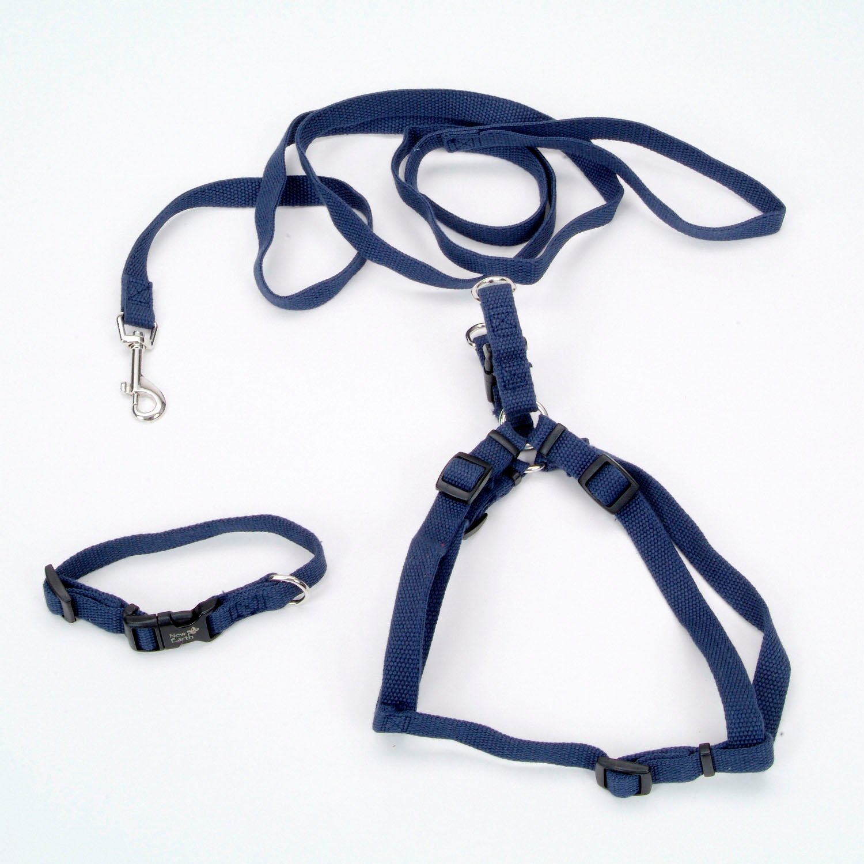 Coastal Pet New Earth 3-Piece Soy Dog Leash Harness and Collar Bundle in Dark Blue