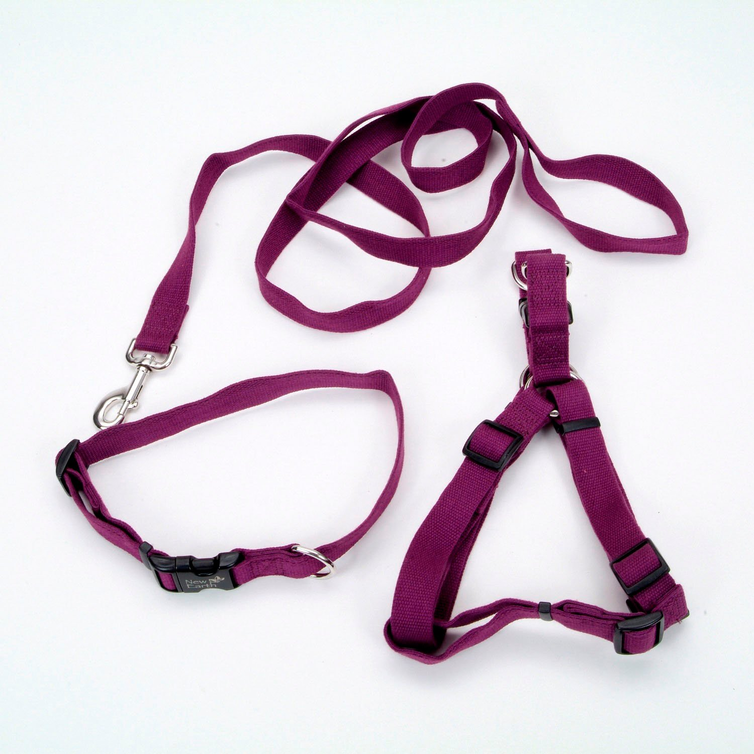 Coastal Pet New Earth 3-Piece Soy Dog Leash Harness and Collar Bundle in Purple