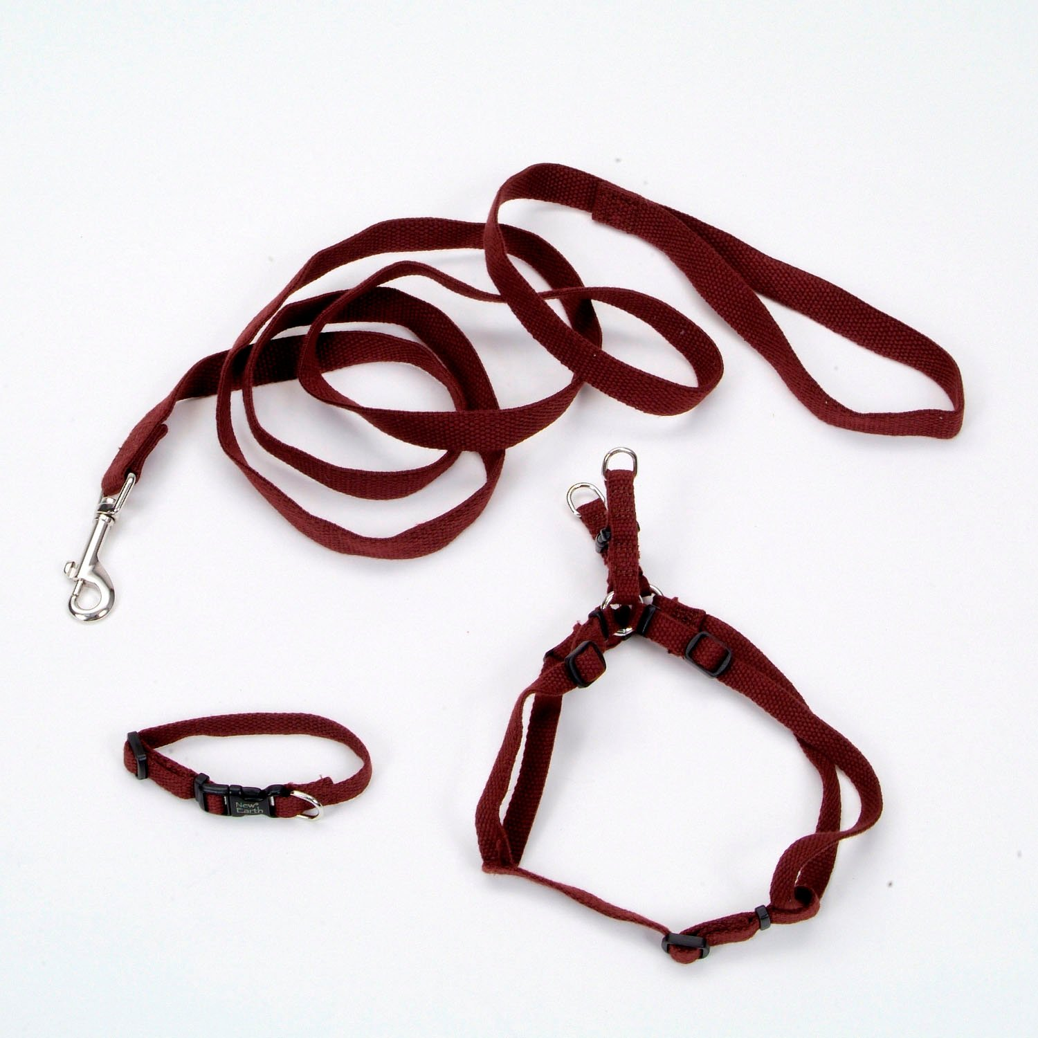 Coastal Pet New Earth 3-Piece Soy Dog Leash Harness and Collar Bundle in Brown