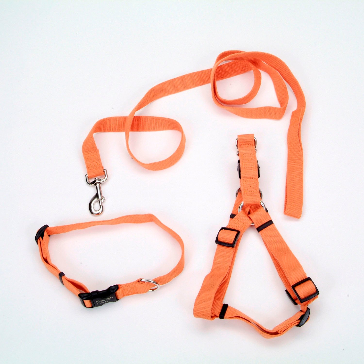 Coastal Pet New Earth 3-Piece Soy Dog Leash Harness and Collar Bundle in Orange