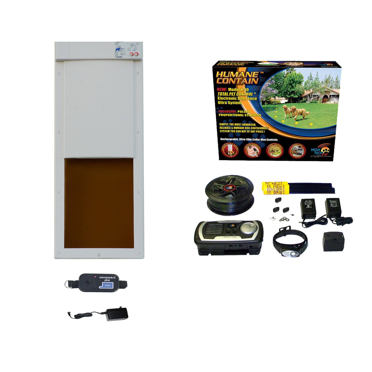 High Tech Pet Humane Contain X-10 In Ground Pet Fencing System with Power Pet PX-2 Pet Door