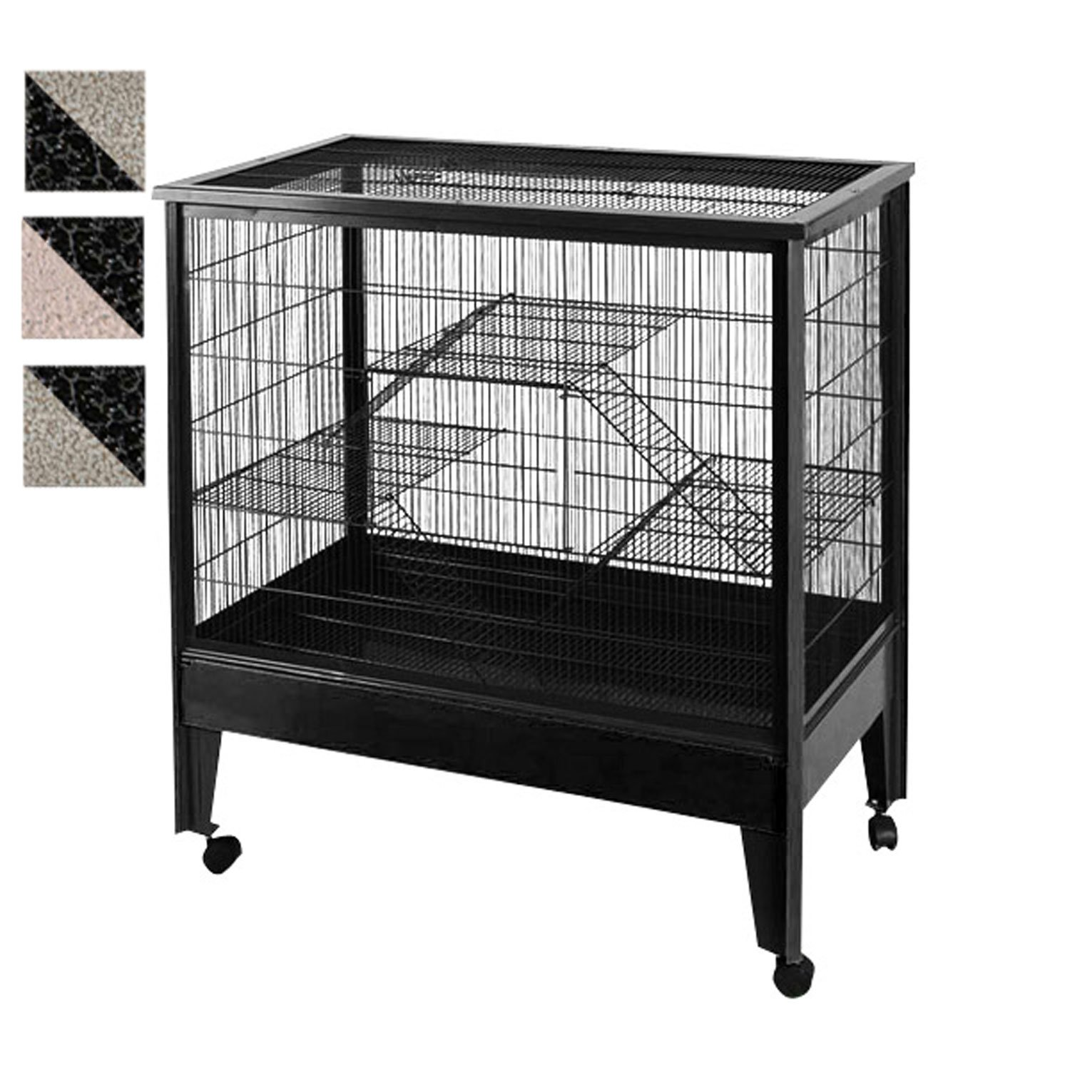 A&E Cage Company 3 Level Small Animal Cage on Casters in Black