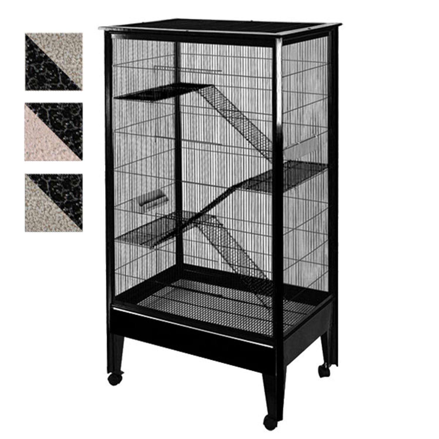 A&E Cage Company 4 Level Small Animal Cage on Casters in Black and Platinum