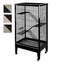 A&E Cage Company 4 Level Small Animal Cage on Casters in Platinum and Black