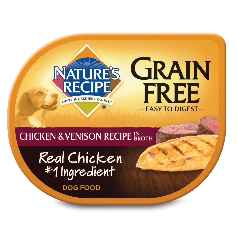 Nature's Recipe Grain Free Adult Dog Food Trays, Chicken & Venison